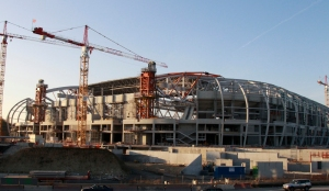 General view of the Grand Stade Lille Metropole soccer stadium which is under construction in Villeneuve d'Ascq